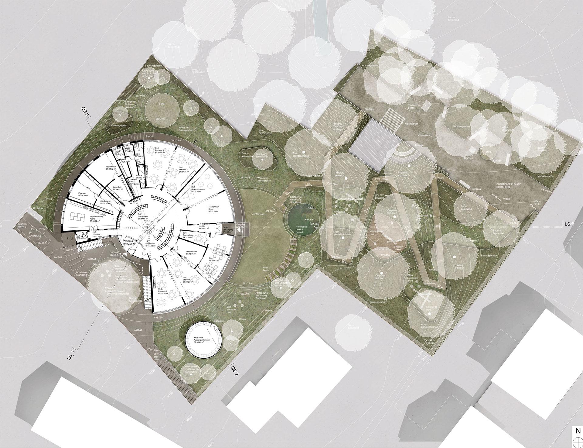 Grundriss Erdgeschoss – Kindergarten St. Gallen